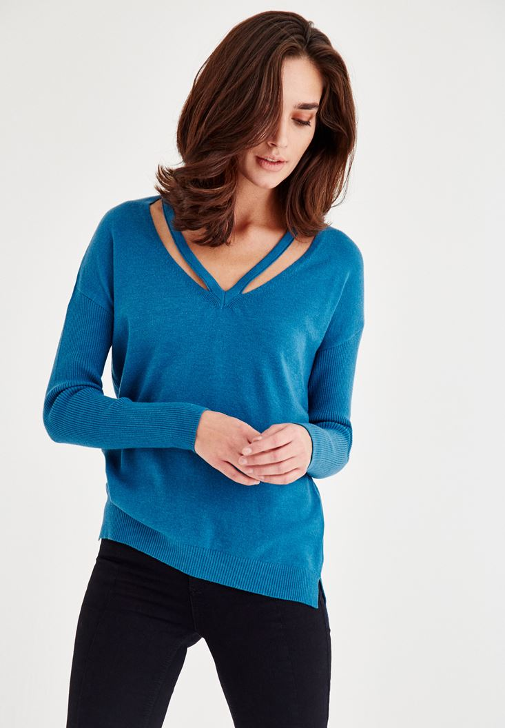 Blue Long Sleeve Pullover With Binding Detail