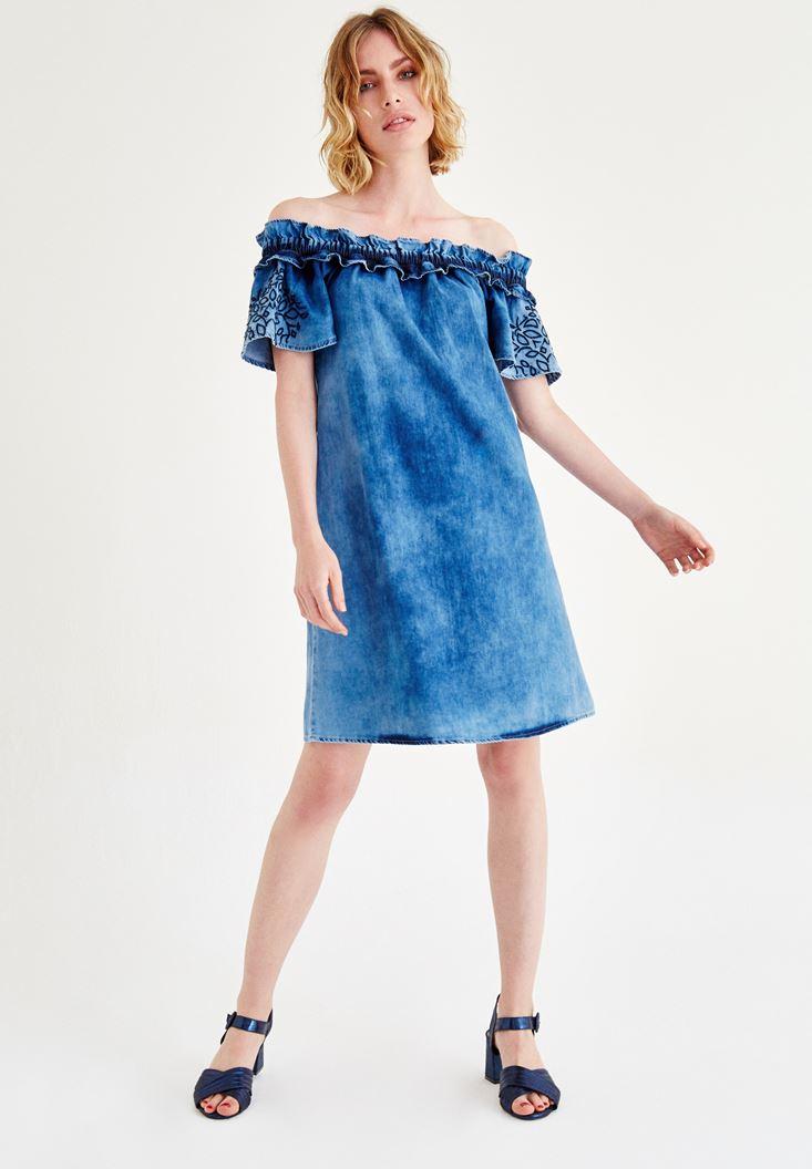 Mavi Düşük Omuzlu Denim Elbise