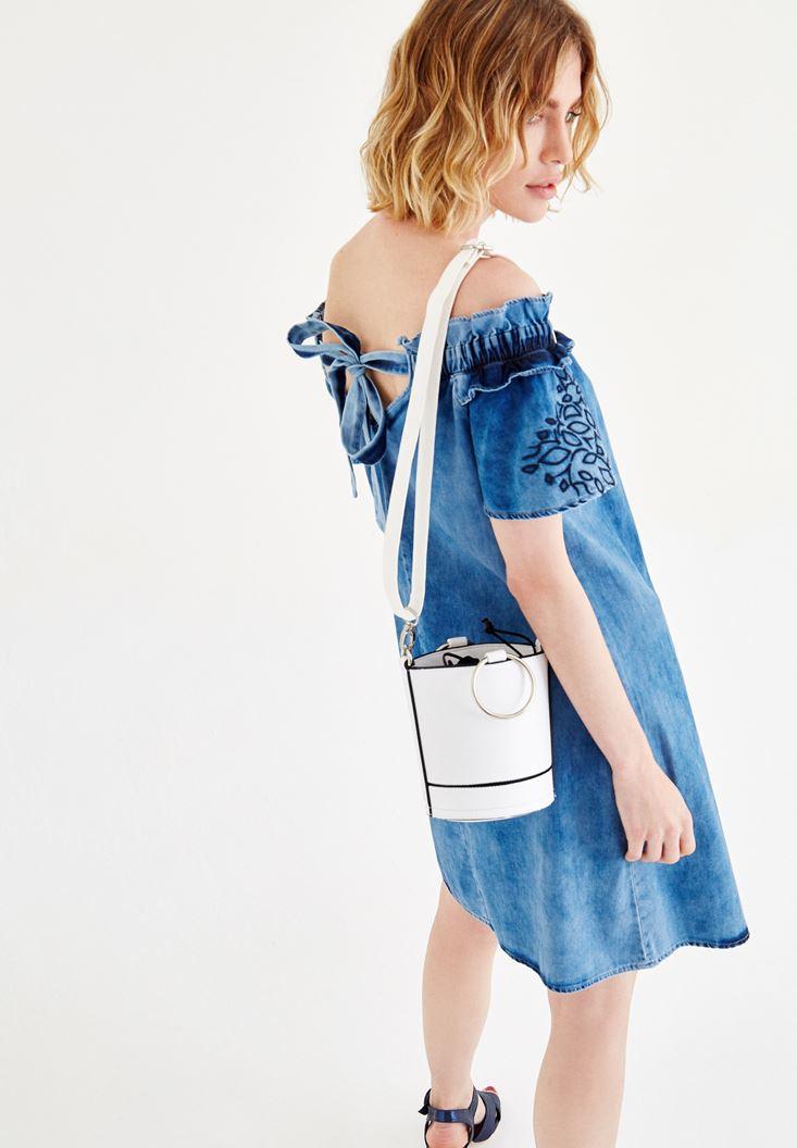 Bayan Mavi Düşük Omuzlu Denim Elbise