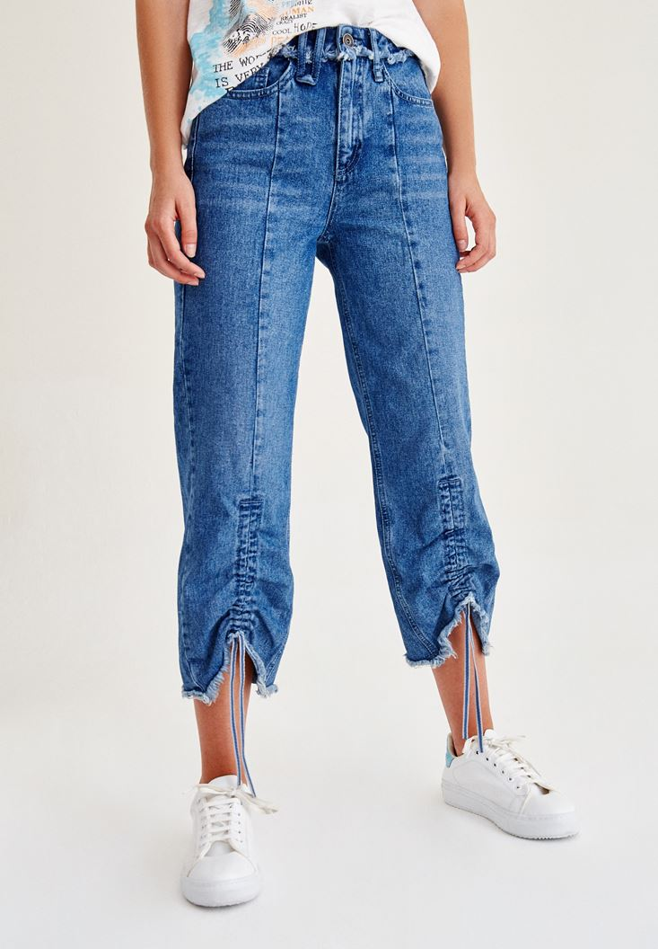 Blue Jeans With Shirring Detail