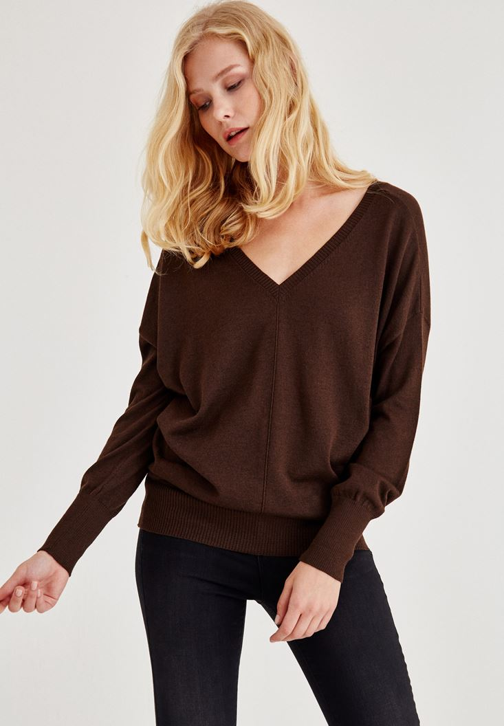 Brown V Neck Knitwear With Arm Detailed