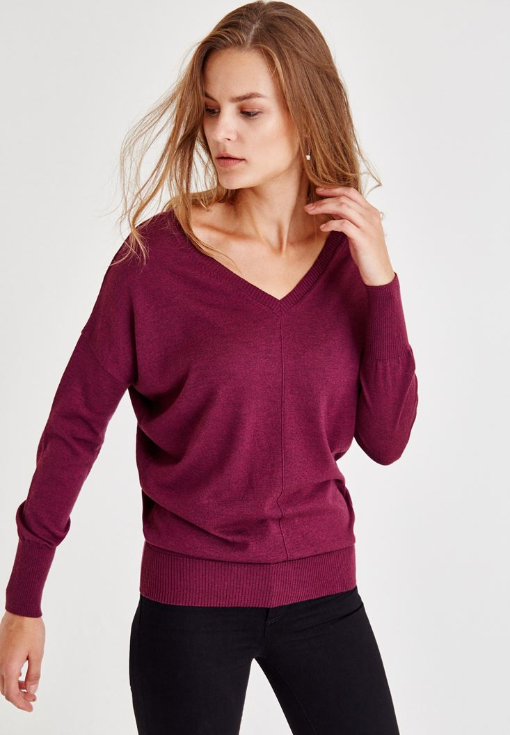 Bordeaux V Neck Knitwear With Arm Detailed