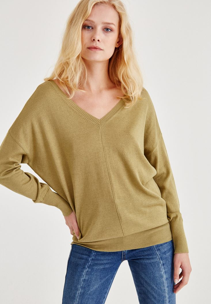 Green V Neck Knitwear With Arm Detailed