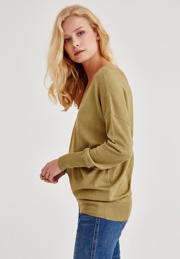Bayan Yeşil V Yaka Kol Detaylı Triko