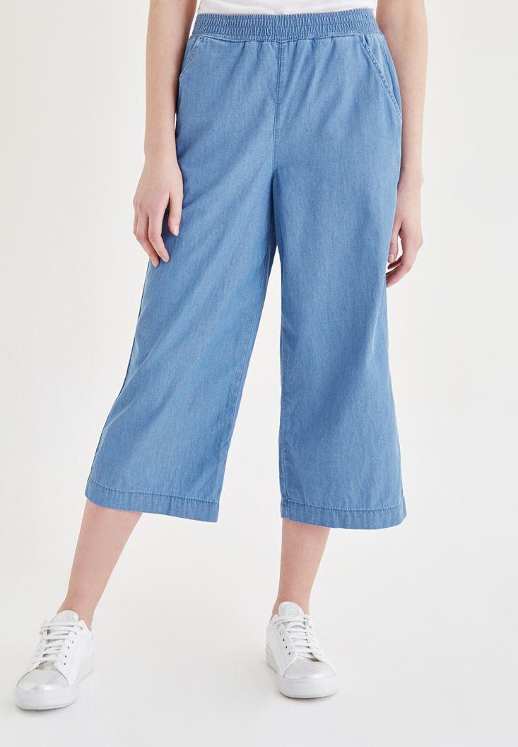 Bayan Mavi Beli Lastik Detaylı Kısa Pantolon