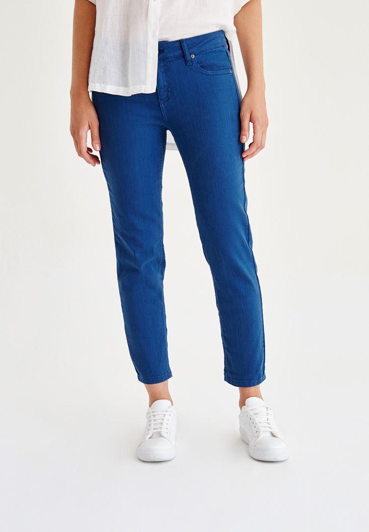 Mavi Düşük Bel Boru Paça Pantolon