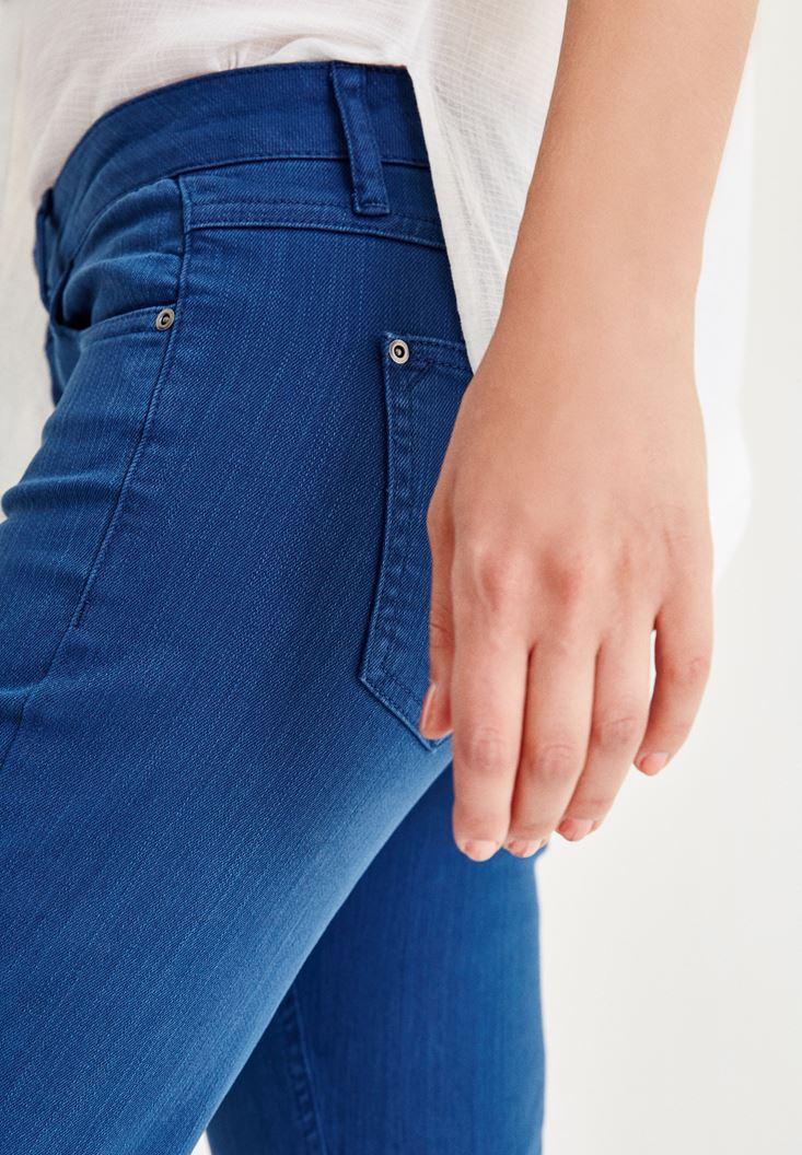 Bayan Mavi Düşük Bel Boru Paça Pantolon
