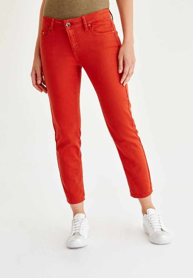 Kırmızı Düşük Bel Boru Paça Pantolon