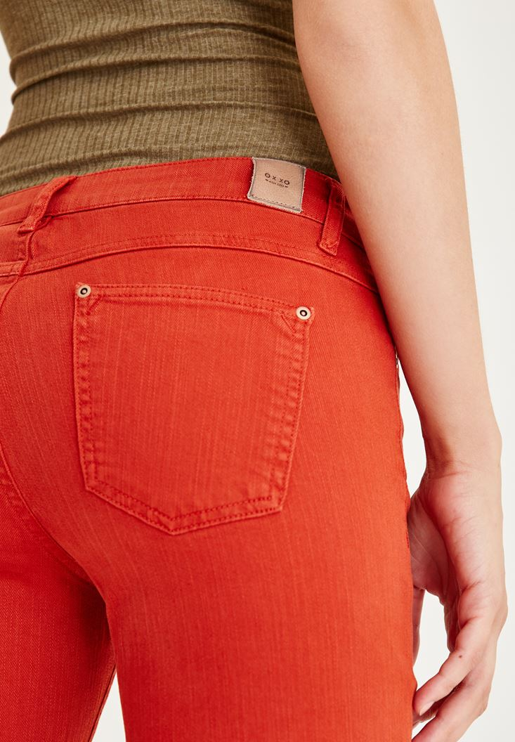 Bayan Kırmızı Düşük Bel Boru Paça Pantolon