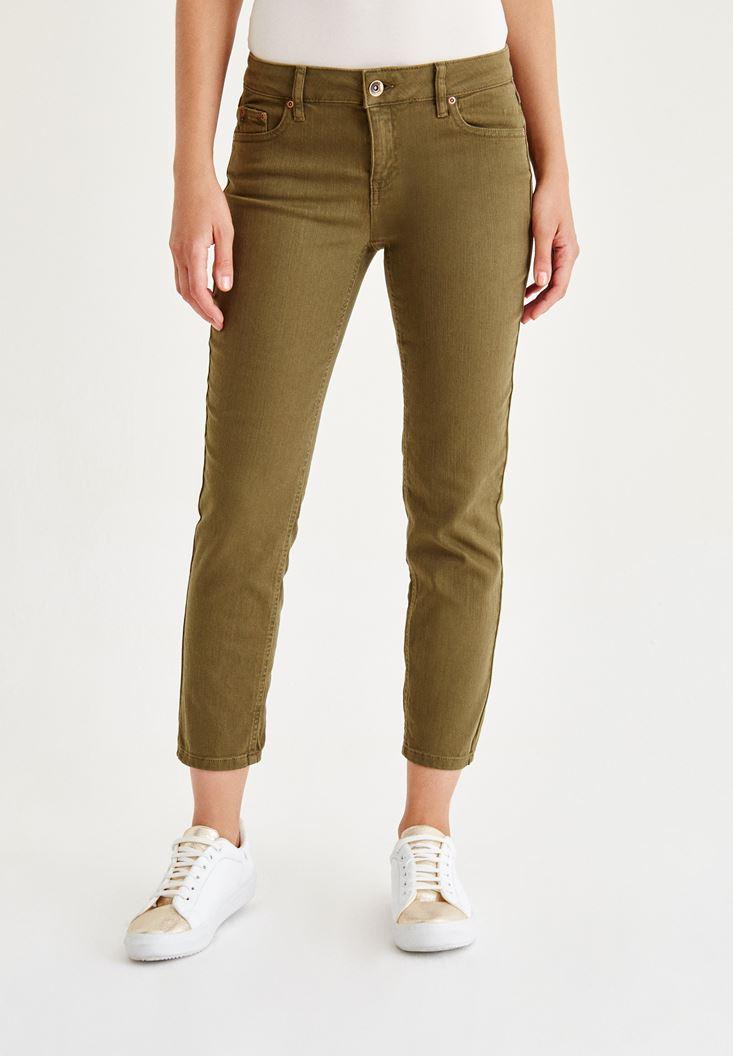 Bayan Yeşil Düşük Bel Boru Paça Pantolon