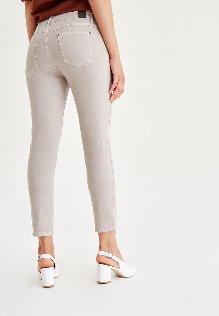 Bayan Krem Düşük Bel Boru Paça Pantolon