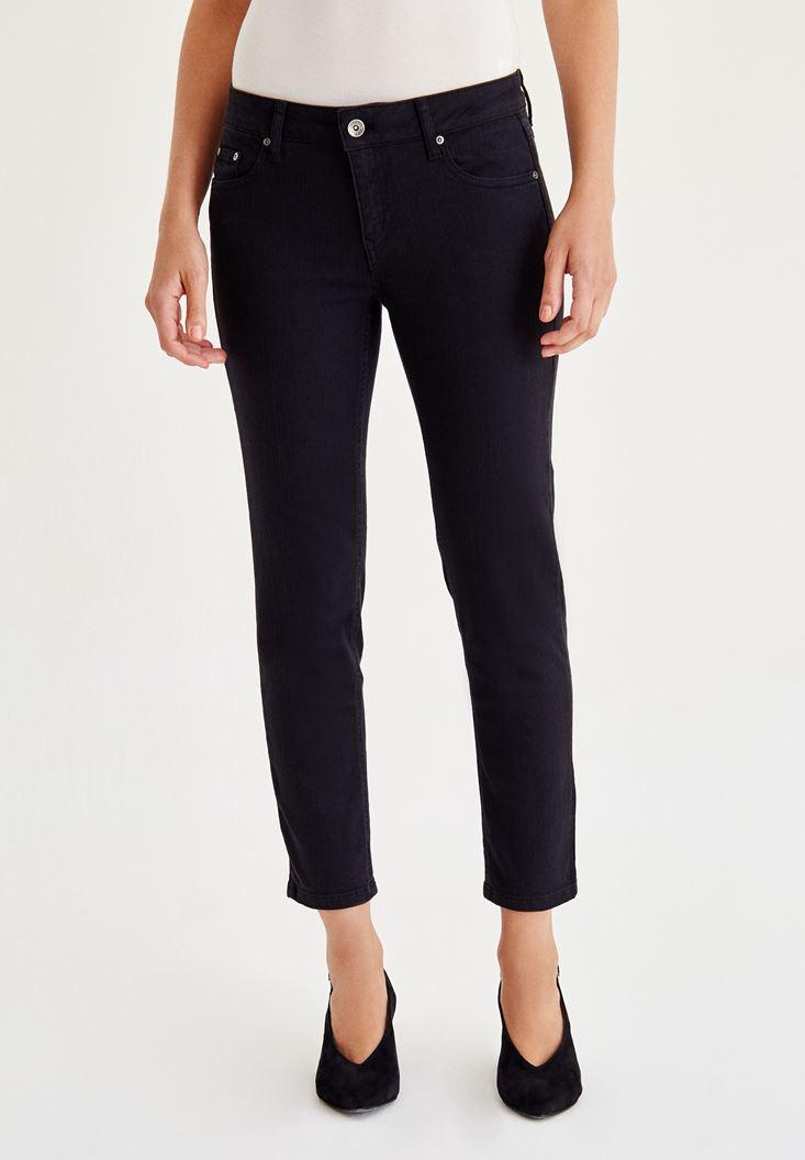 Bayan Siyah Düşük Bel Boru Paça Pantolon