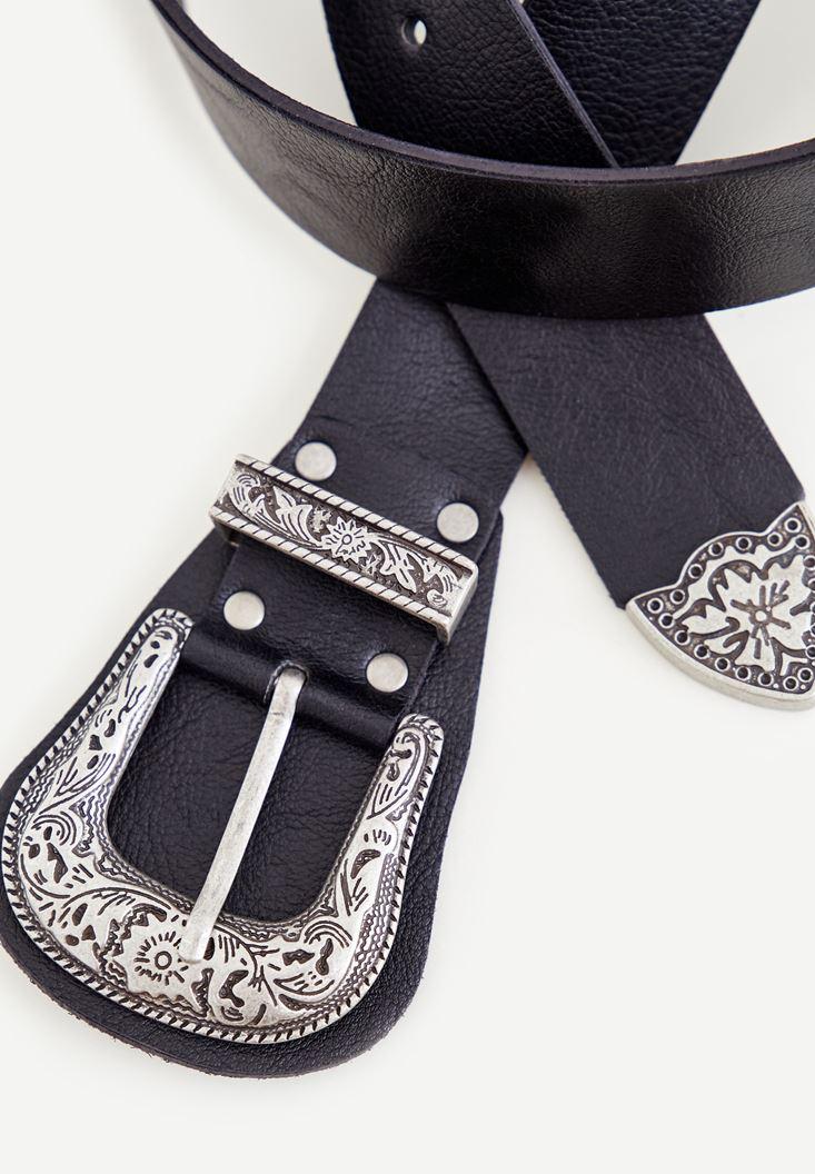 Bayan Siyah Gümüş Tokalı Kemer