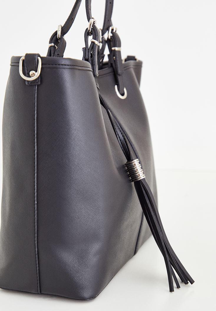 Bayan Siyah Askılı Büyük Deri Çanta