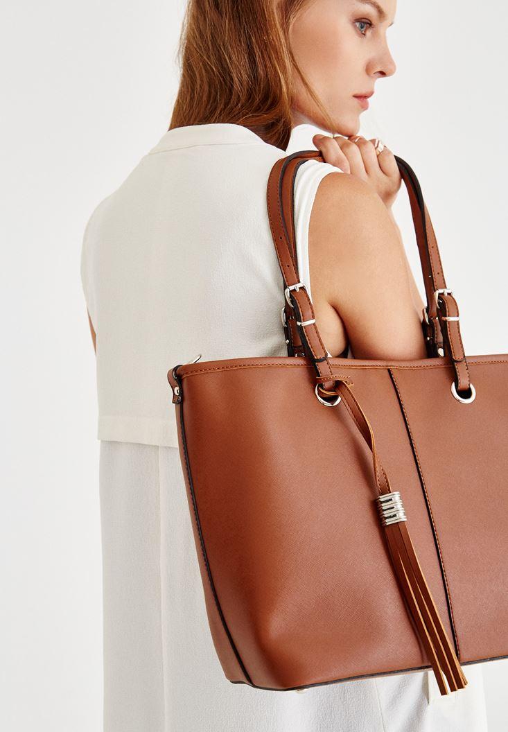 Bayan Kahverengi Askılı Büyük Deri Çanta