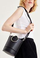 Bayan Siyah Halka Detaylı Askılı Çanta