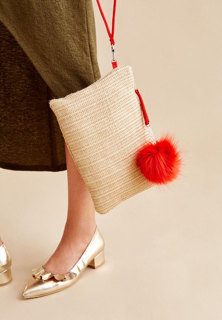 Kırmızı Ponponlu Hasır Çanta