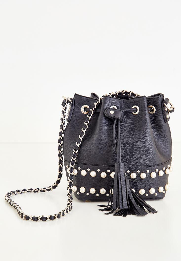 Bayan Siyah İnci Detaylı Çanta