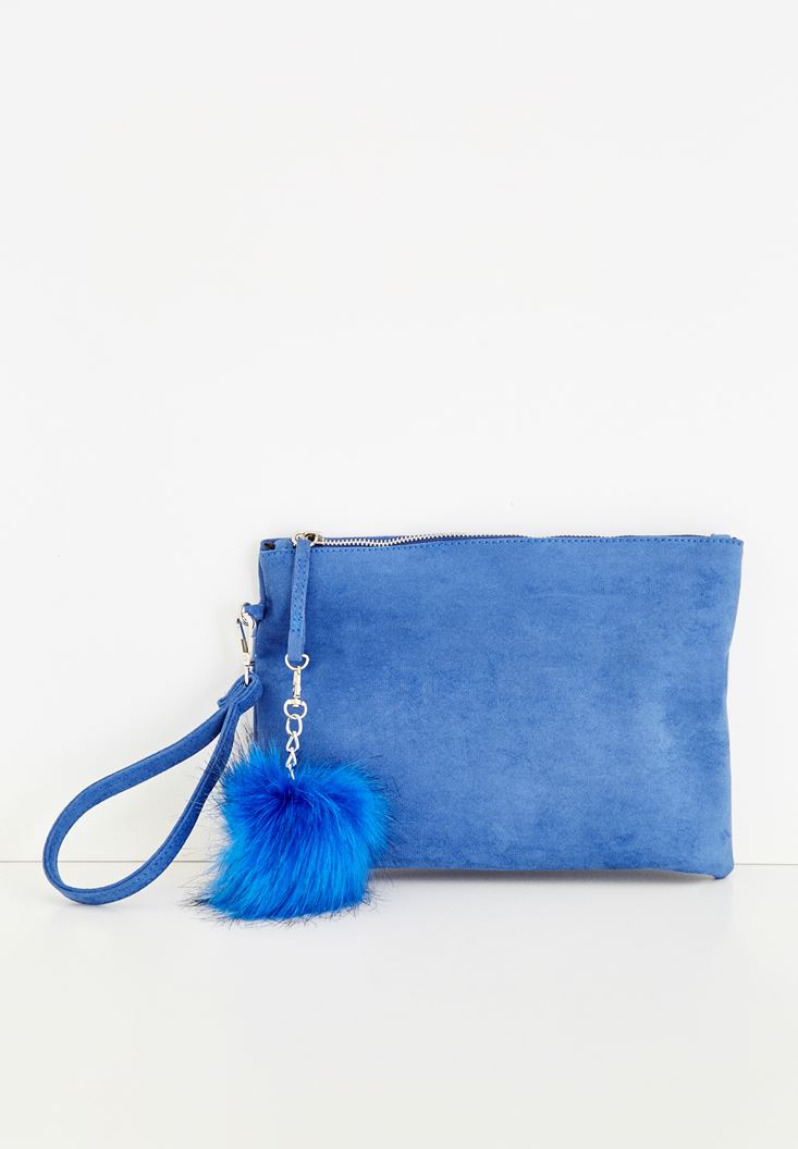 Blue Clutch With Pompom Detailed
