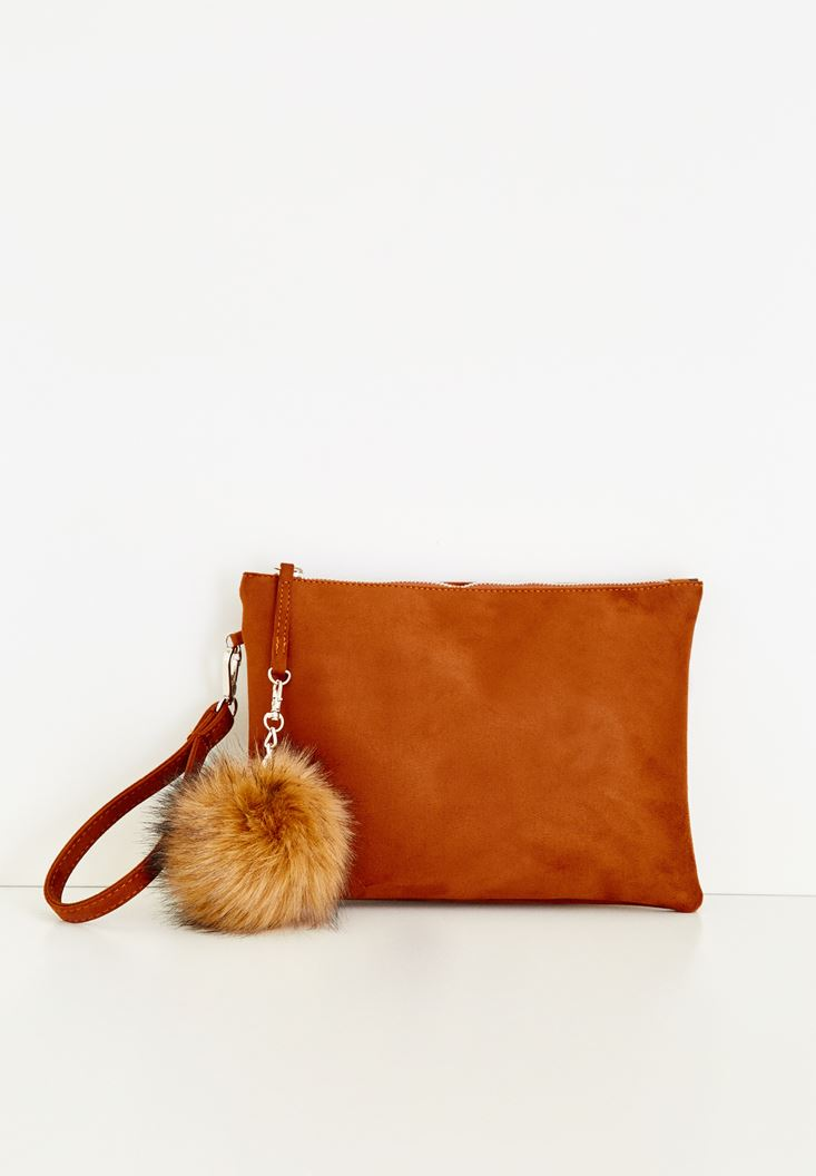 Brown Clutch With Pompom Detailed