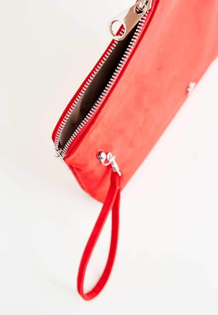 Bayan Kırmızı Zarf Kesim Detaylı Çanta