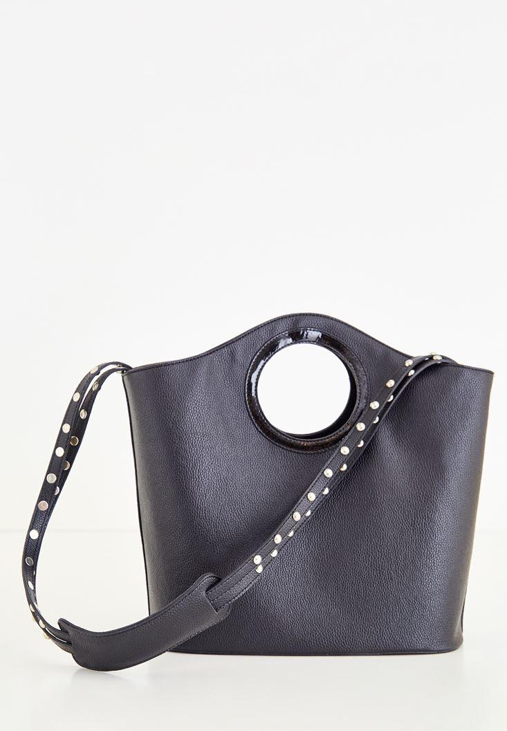 Siyah Askısı Metal Detaylı Çanta