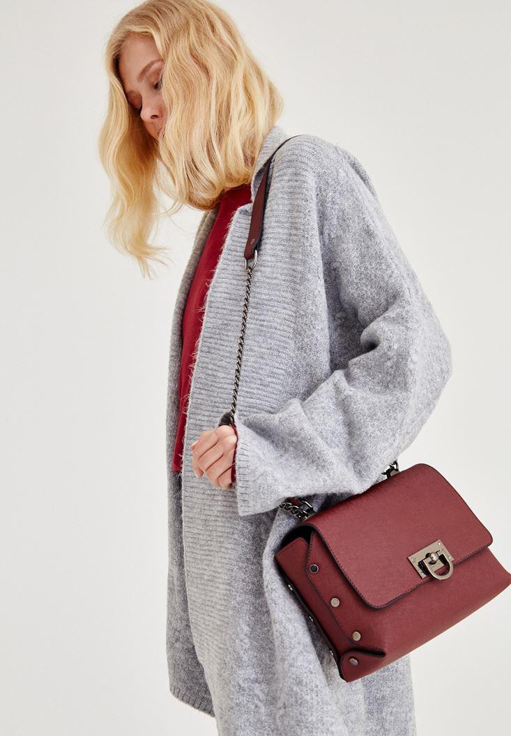 Bordo Tokalı Askılı Çanta
