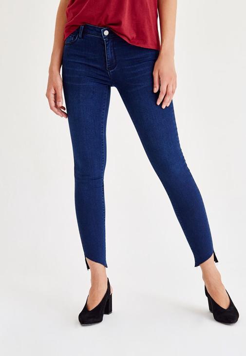 Paça Detaylı Skinny Jean Pantolon