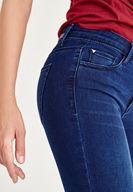 Bayan Mavi Paça Detaylı Skinny Jean Pantolon