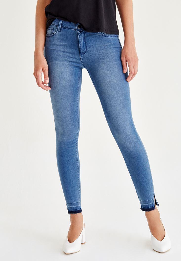 Mavi Paça Detaylı Skinny Jean Pantolon