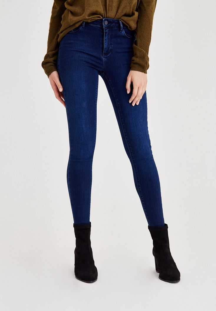 Blue Mid-Rise Skinny Jeans
