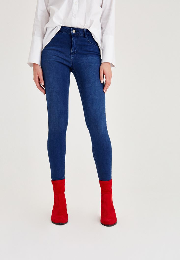 Navy Mid-Rise Skinny Jeans