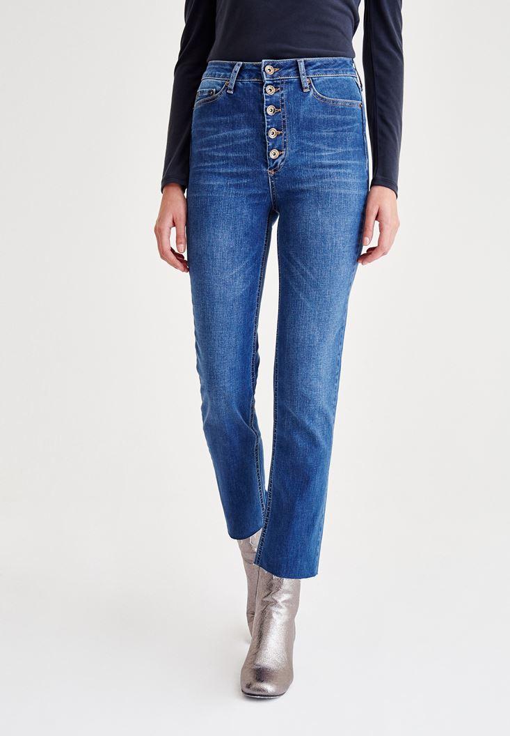 Mavi Çok Düğmeli Yüksek Bel Denim Pantolon