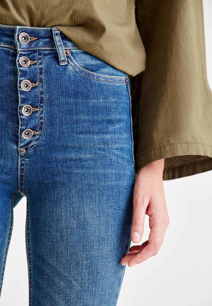 Bayan Mavi Çok Düğmeli Yüksek Bel Denim Pantolon