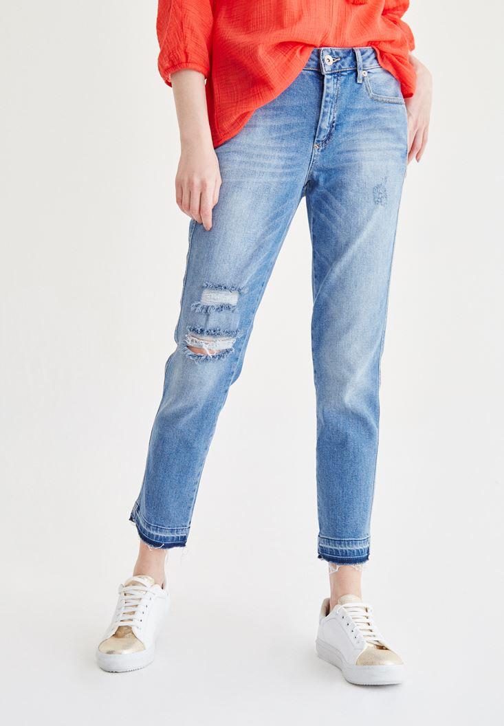 Bayan Mavi Slim Boyfriend Pantolon