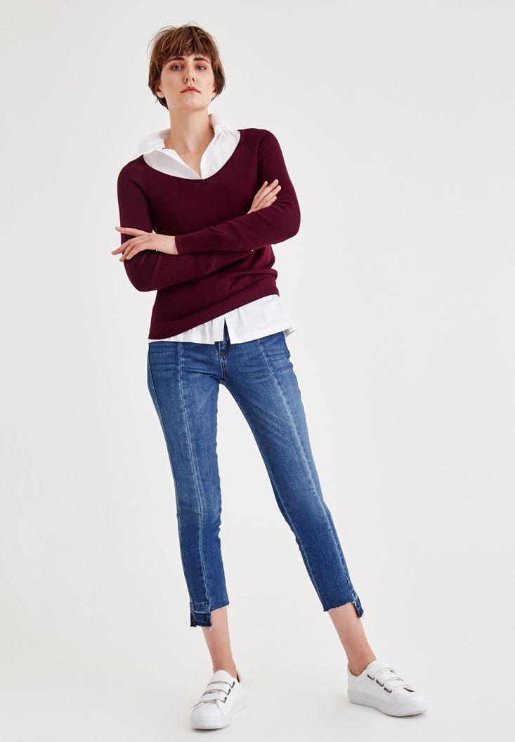 Yüksek Bel Kalem Paça Slim Denim Pantolon