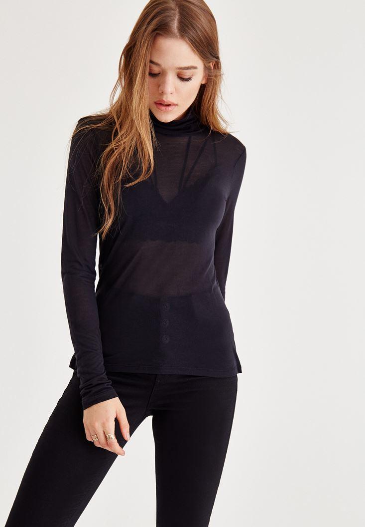 Siyah Boğazlı Uzun Kollu Bluz