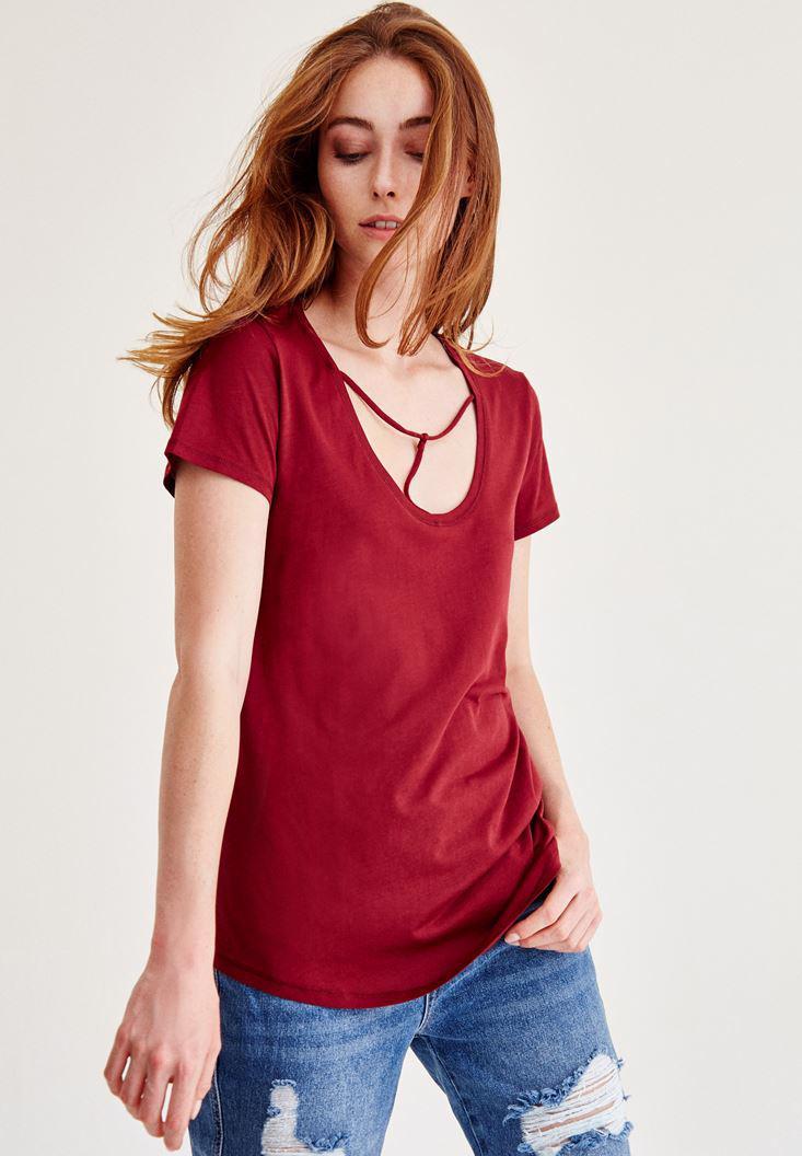 Bayan Bordo Biye Detaylı Basic Tişört