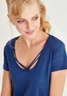Bayan Mavi Biye Detaylı Yarım Kollu Tişört