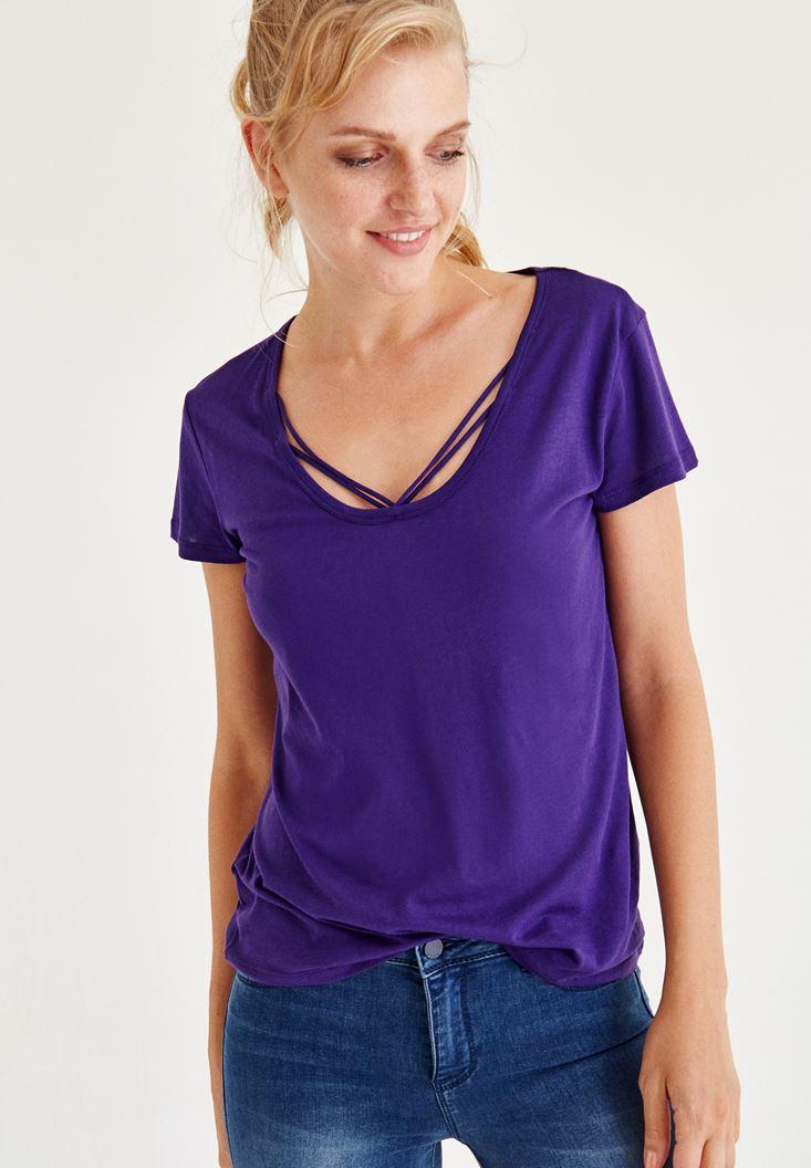 Bayan Lacivert Biye Detaylı Yarım Kollu Tişört