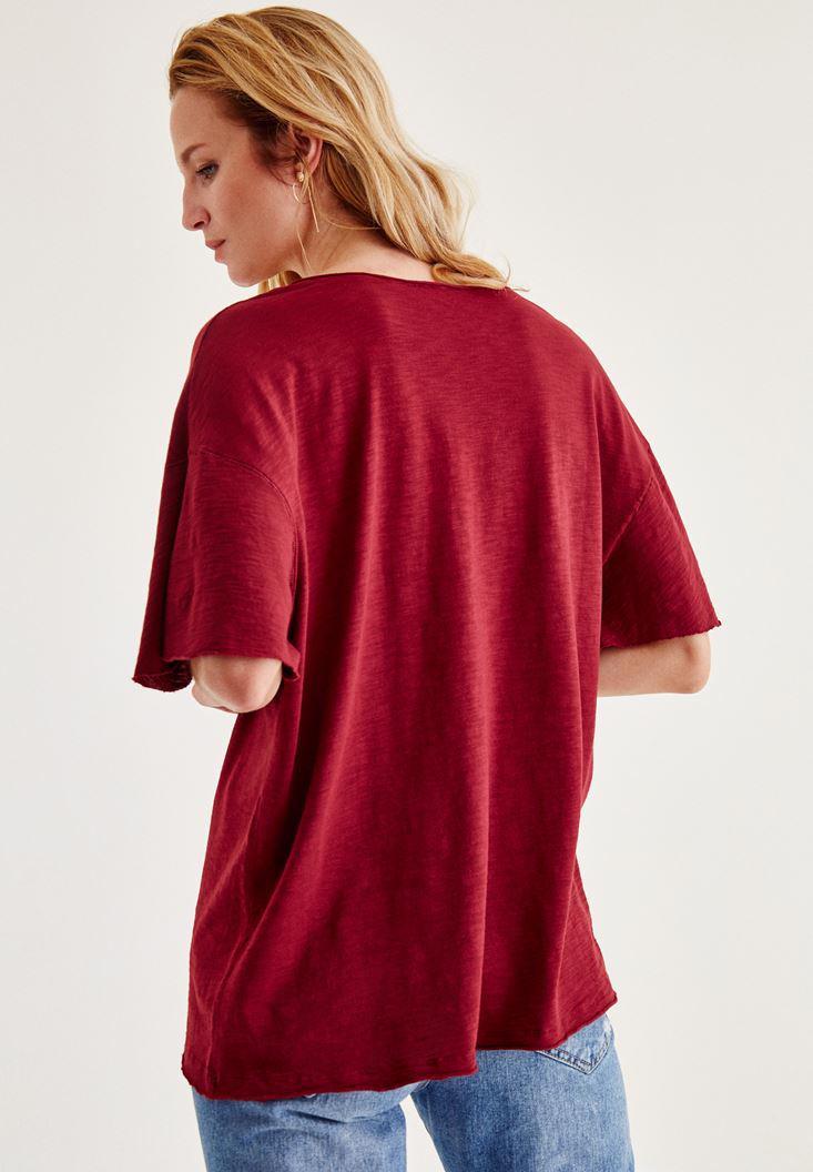 Bayan Bordo Uzun Basic Tişört