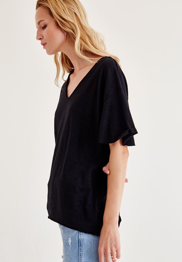 Bayan Siyah Uzun Basic Tişört