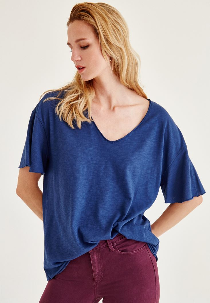 Bayan Mavi Uzun Basic Tişört