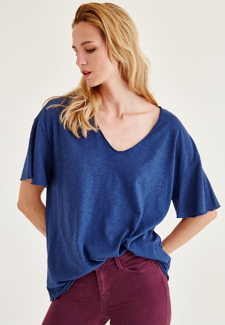 Mavi Uzun Basic Tişört