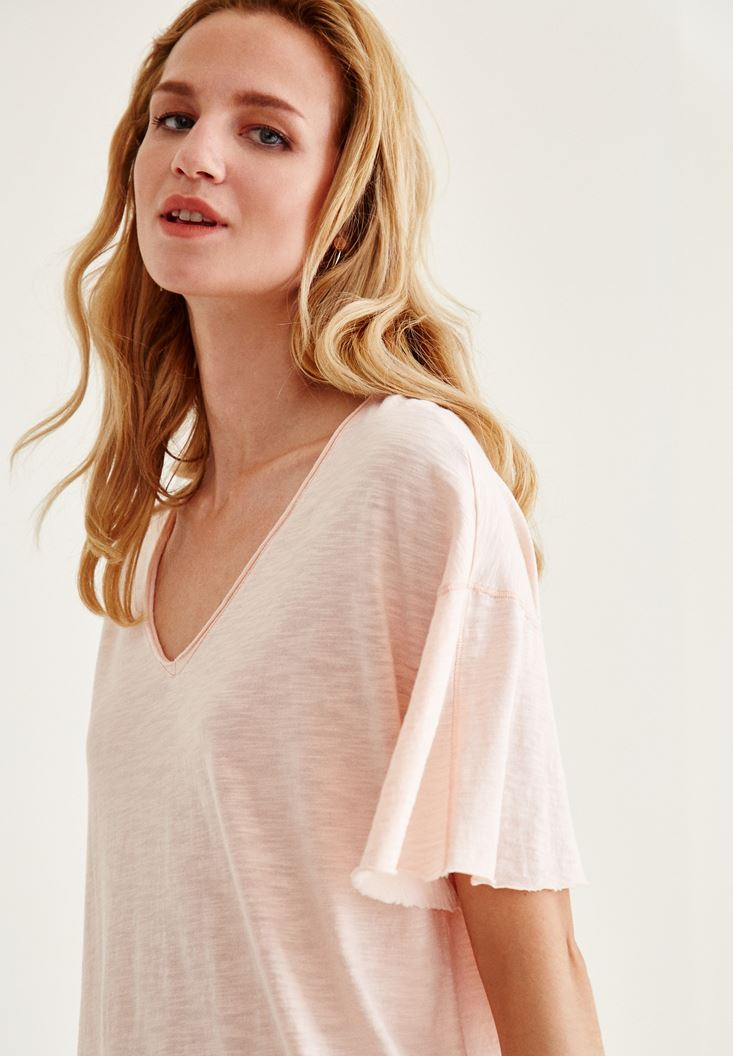 Pink Long Basic T-Shirt