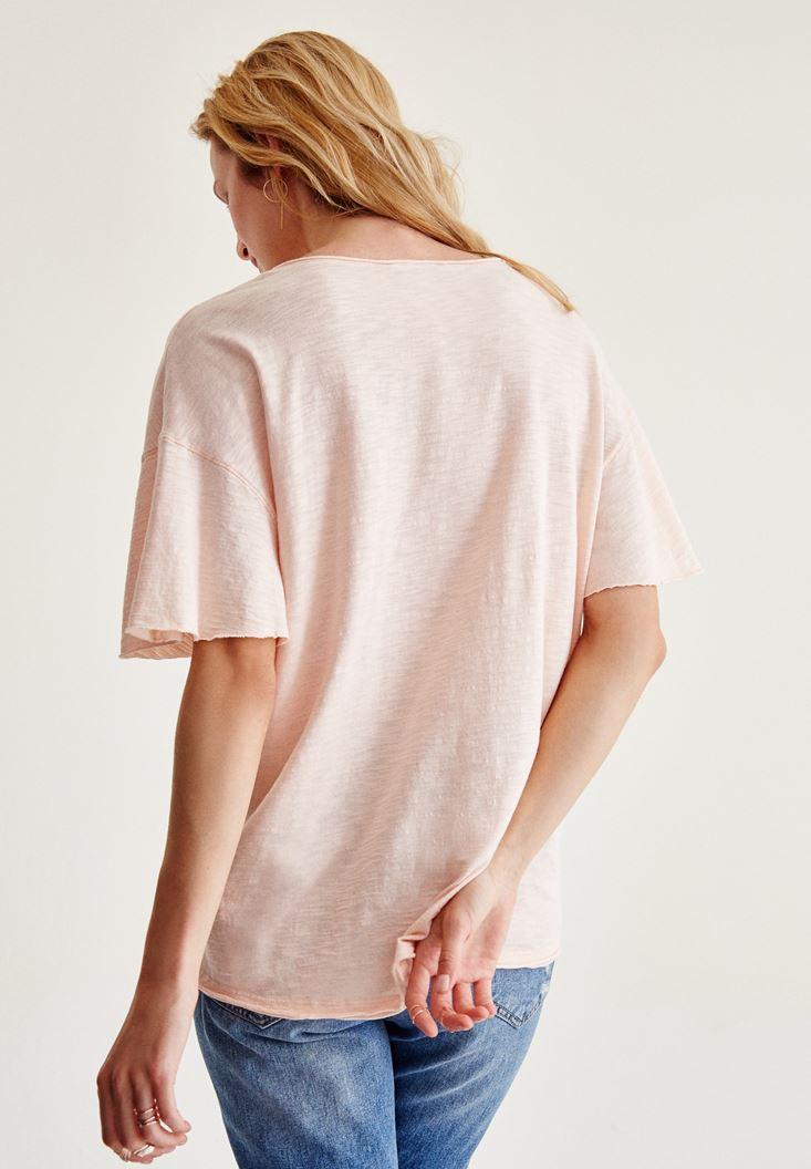 Bayan Pembe Uzun Basic Tişört