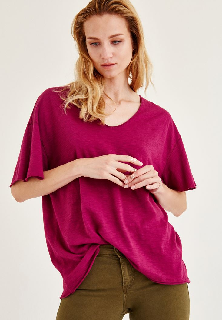 Bordeaux Long Basic T-Shirt