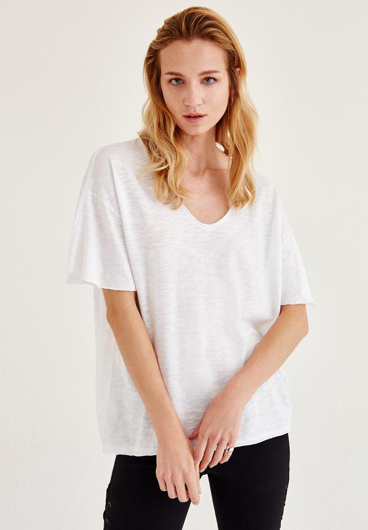 Bayan Beyaz Uzun Basic Tişört
