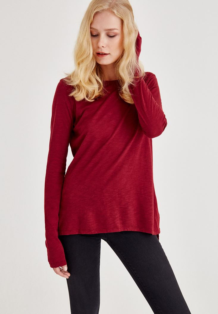 Bordeaux Long Sleeve T-Shirt With Side Detail