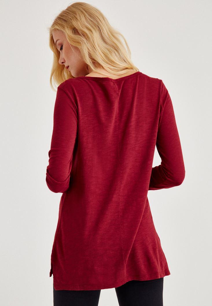Bayan Bordo Uzun Kollu Yanları Yırtmaçlı Tişört